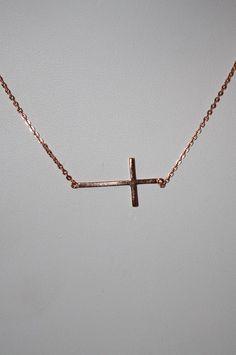 Sideways Cross Necklace Rose Gold  Skinny by SandysCharmingBeads, $23.50
