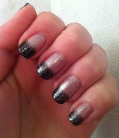 Glitter nails with dark colored tips art