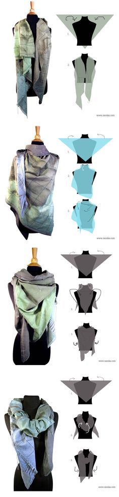 Tips on how to style and wear a really large scarf. A scarf in the examples – Mostar – is oversize linen triangle scarf. However, following techniques CAN be applied on a square scarf simply by folding the scarf on half into a triangle shape. Also, a smaller scarf can do as well.