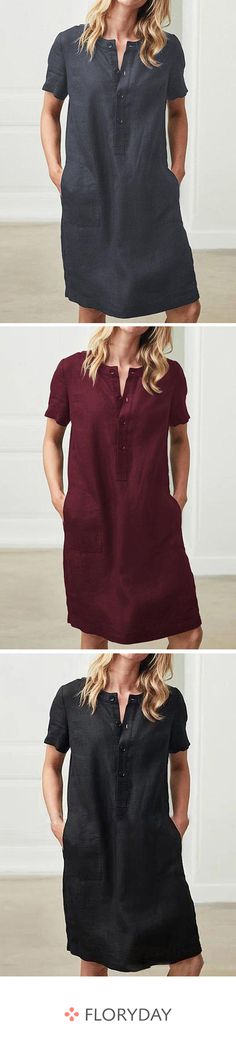 Knee-length dress with short sleeves and plain pockets Linen Dresses, Casual Dresses, Short Dresses, Casual Outfits, What To Wear Today, How To Wear, Shift Dress Pattern, Dress Neck Designs, Capsule Wardrobe