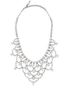 Kenneth Jay Lane Plated Crystal Bib Necklace
