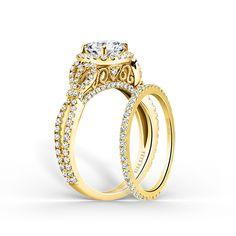 The romantic Pirouetta collection from Kirk Kara features stunning split shank and halo diamond engagement rings with pavé diamonds and swirly, criss cross designs, with matching wedding bands. Wedding Ring Sets Unique, Wedding Ring For Her, Wedding Jewelry, Wedding Rings, Wedding Cakes, Engagement Ring Buying Guide, Round Cut Engagement Rings, Halo Engagement, Jewelry Rings