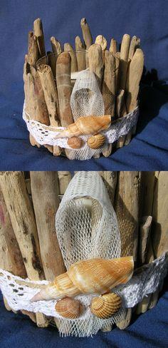Candle holder, driftwood beach decor, glass, seashell, shabby chic,design,Round…