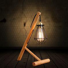 Abajur candeeiro de mesa de madeira pequenas gaiolas de ferro do Vintage cabeceira quarto luz da mesa lâmpada suporte luminaria de mesa