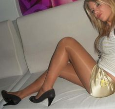 Nude pantyhose with sexy high heels