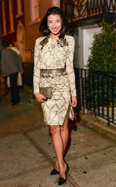 Lily Kwong in  dress and Andra Neen clutch @ The CFDA Vogue Fashion Fund Cocktail in New York