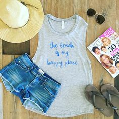 """B L O N D E  L A U N D R Y on Instagram: """"B E A C H P L E A S E ⚓️ NEW Beach Is My Happy Place Muscle Tee $32 available now!!! (Shop link in bio) #beachlife #boatlife #relaxing #happyplace #sun #sea #graphictee #blondelaundry"""""""