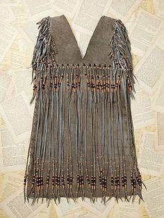 Vintage Rough Out Suede Fringe Dress
