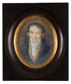 """Lote 126  J. J. DE SOLIS (Escuela española, siglo XIX)  Retrato de caballero con chaleco de rayas  Miniatura oval. 9 x 7 cms. Formada y fechada: """"J.J. de Solis 1817"""" en el margen derecho."""