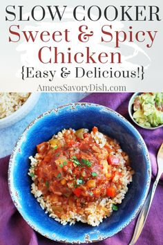 A sweet and spicy Crockpot chicken recipe made with chunky salsa all-fruit preserves peppers herbs and spices for a simple and delicious weeknight meal. Best Crockpot Recipes, Easy Chicken Recipes, Yummy Recipes, Savoury Dishes, Food Dishes, Food Food, Sweet And Spicy Chicken, Slow Cooker Breakfast, Chunky Salsa