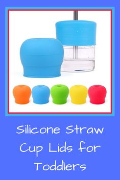 """Stop letting your child drink out of toxic plastic bottles and sippy cups, safe to use for toddlers and babies 9 months and up. These lids are also perfect for transiting babies from bottles to cups FITS ANY CUP: Our Silicone Sippy cup lids stretch easily over any cup, glass, or bottle with a diameter of 2""""- 3.15"""". You can even use these lids with straws by simply sliding one into the drinking spout Sippy Cups, Cup With Straw, Straws, Plastic Bottles, 1 Year, Tumbler, Toddlers, Drinking, Mason Jars"""