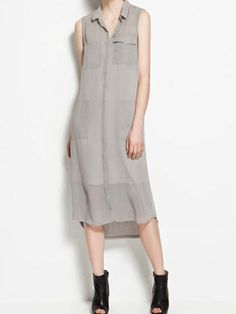 Zara Extra-Long Dress www.theblush.com #50shadesofgrey