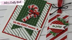 Easy Candy Cane Christmas Card and Tag featuring Stampin' Up! Christmas Cards To Make, Christmas Candy, Xmas Cards, Christmas Gifts, Paper Craft Making, Christmas Projects, Craft Tutorials, Candy Cane, Stampin Up