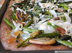 30 Min. #MeatlessMonday Dinner; Roasted Asparagus Mushroom Onion Pizza