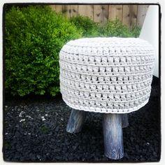 Crochet stool made with Zpagetti by miriamcatshoek #hoooked #zpagetti #crochet