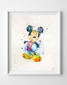 Mickey Mouse Print Mickey Watercolor Art Type 2 by InkistPrints