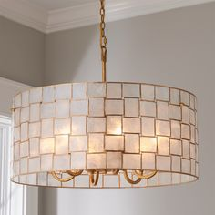 Displaying sophisticated style with excellent craftsmanship, this beautiful collection of natural shell light fixtures in a gold leaf finish will captivate you while illuminating your space. Drum Shade Chandelier, Star Chandelier, Chandelier Lighting, Entry Chandelier, Glass Chandelier, Room Lights, Hanging Lights, Bamboo Ceiling, Ceiling Light Shades