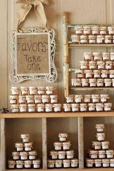 Cute way to display wedding favors. Doing some homemade jelly would definitely be a hit in my opinion!