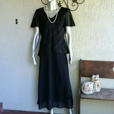 After 6pm Black Crepe Chiffon Sparkle Dress Brand Citi Dress Size 12 100% Polyester will be home dry cleaned before it's journey  Black Crepe lined bodice with Sparkle Chiffon overlay blouse. Slip on dress. Just beautiful  Like new condition  Bundles available with discounts Citi Dress Dresses Maxi