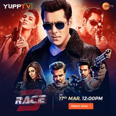 #Race3 Movie Premiere on Zee TV Race 3, Tv Channels, Indian, Usa, Movies, Movie Posters, Films, Film Poster, Cinema