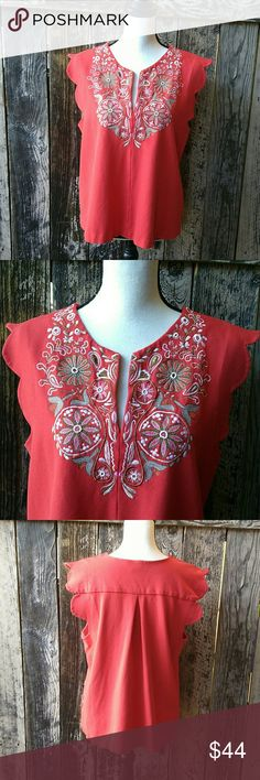 "🌹Akemi + Kin // Embroidered Scalloped Blouse Gorgeous, bright orangish red colored, floral embroidered, beaded detail top in excellent condition, very gently worn condition. Has v-neck, scalloped shoulders and beaded details. Is very stretchy, fabric is 77% viscose, 19% nylon $ 4% spandex.   Measurements are taken while laying flat: Armpit to armpit-21"" Waist- 23"" across Top of shoulder to bottom-24""  True to size L (Large) Anthropologie Tops Blouses"