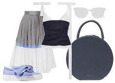 Слипоны Joshua Saunders, юбка Vika Gazinskaya, топ Jacquemus, сумка Mansur Gavriel, солнцезащитные очки Le Specs