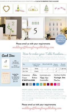 Illustrated and Personalised Table Number Cards and Table Number Board #CreateABuzz