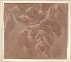 """Angel Holding a Banderole  Antonio Franchi (""""Il Lucchese"""")   (Italian, Villa Basilica near Lucca 1638–1709 Florence)    Date: 1706  Medium: Brush and pink and white tempera, over red chalk, on brownish paper (recto). Red chalk tracing of the angel done from the recto (verso).   Dimensions: 6-7/8 x 7-13/16 in. (17.4 x 19.9 cm)  Classification: Drawings"""