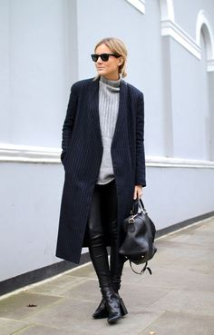 Lucy Williams looking chic in black and grey | @andwhatelse