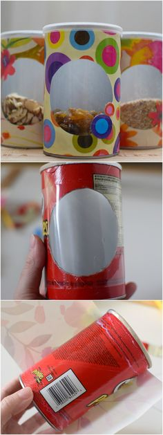 Crafting Pringles cans: 101 DIY ideas for DIY house decoration Recycled Crafts, Diy And Crafts, Crafts For Kids, Paper Crafts, Pringles Can, Pringles Dose, Diy Y Manualidades, Plastic Bottle Crafts, Diy Home Decor
