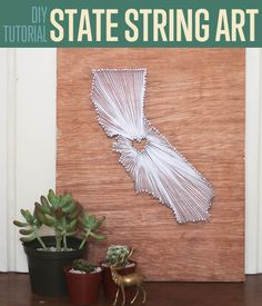 DIY Easy State String Art | DIY Room Decor Ideas by DIY Ready at http://diyready.com/diy-crafts-string-art-tutorial