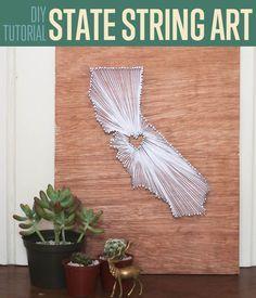 DIY Easy State String Art | DIY Room Decor Ideas by DIY Ready at http://diyready.com/diy-crafts-string-art-tutorial