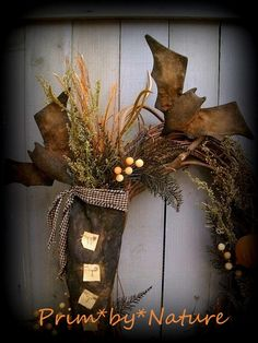 Primitive Witch Stocking Wreath with Bats and Pumpkin Pods Prim Halloween Wreath