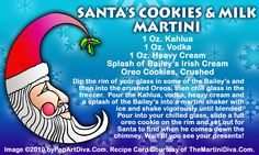 SANTA'S COOKIES and MILK CHRISTMAS MARTINI RECIPE on a Free Recipe Card - Click the image for the Full Sized, Print Quality Recipe Card!