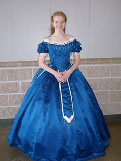 Civil war Ball Gown  Royal blue dull satin with cream accents and trim.