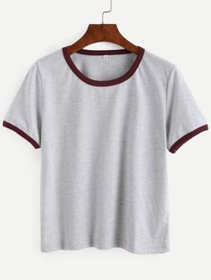 0bab31acbbe31 Shop Grey Contrast Trim Crop T-shirt online. SheIn offers Grey Contrast  Trim Crop T-shirt   more to fit your fashionable needs.