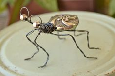 Four Elements Wire Sculpted Beetle Bug by ieleidesign on Etsy, $18.00