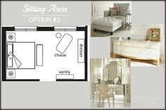 Master Bedroom Sitting Area with dresser, chaise and vanity table | Classy Glam Living