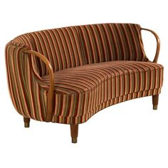 Danish Curved Loveseat | From a unique collection of antique and modern sofas at http://www.1stdibs.com/furniture/seating/sofas/