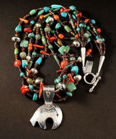 Sterling Silver Navajo Bear Pendant with 5 Strands of Turquoise, Coral, Czech Glass, Pen Shell Heishi and Sterling