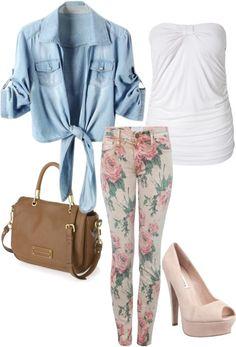 outfit: white strapless top, light-blue denim elbow-sleeved tie-front blouse, cream / pink / green rose-floral-printed skinny-jeans, brown handbag, rose-pink open-toed platform heels