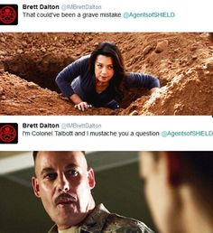 Brett Dalton's Twitter. Punny.  Agents of SHIELD