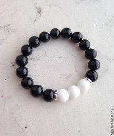 Купить Браслет из агата - чёрно-белый, агат граненый, браслет из камней, Браслет ручной работы