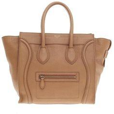 Pre-Owned Celine Luggage Grainy Leather Mini (48.595 UYU) ❤ liked on Polyvore featuring bags, handbags, purses, bolsas, celine, sac, camel, leather purses, man bag and leather man bags