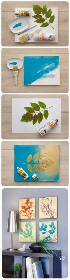 cuadros con hojas y pintura en spray DIY Nature Wall Art - DIY & Crafts For Moms This would be cute in shades of red and silver on top * SMART * Cute Crafts, Crafts To Do, Arts And Crafts, Simple Crafts, Fall Crafts, Crafts Cheap, Creative Crafts, Creative Art, Mur Diy