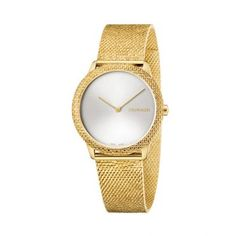 Γυναικείο quartz ελβετικό ρολόι Calvin Klein K3M22V26 Minimal με ασημί καντράν και επίχρυσο μπρασελέ σε στυλ ψάθας | Ρολόγια CK ΤΣΑΛΔΑΡΗΣ στο Χαλάνδρι #Calvin #Klein #Minimal #κιτρινο