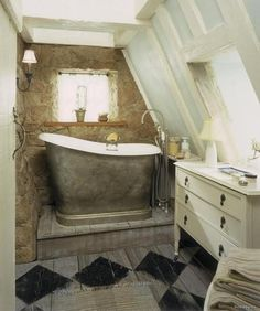 tiny bathroom, love the tub but would need a ladder to use it