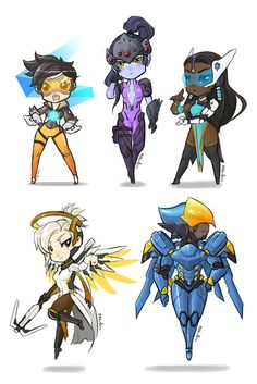 Tracer, Widowmaker, Symmetra, Mercy, Pharrah Chibi version :))