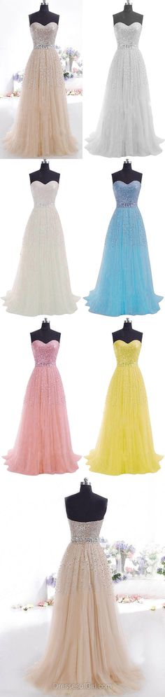 Princess Sweetheart Prom Dresses, Tulle Sequined Long Formal Dresses, Sweep Train Rhinestone Evening Party Gowns