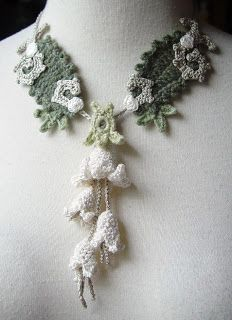 Sandy Meeks makes the most beautiful crocheted necklaces. She also includes a collection for the vampire fiction fans